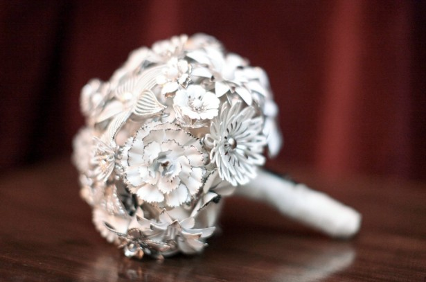 White Floral Brooch Bouquet
