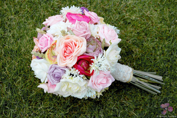 Boho Silk and Dried Flower Bouquet