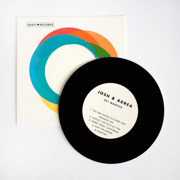 Retro Record Wedding Invitation
