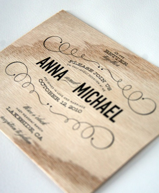 Antique Wooden Wedding Invitation
