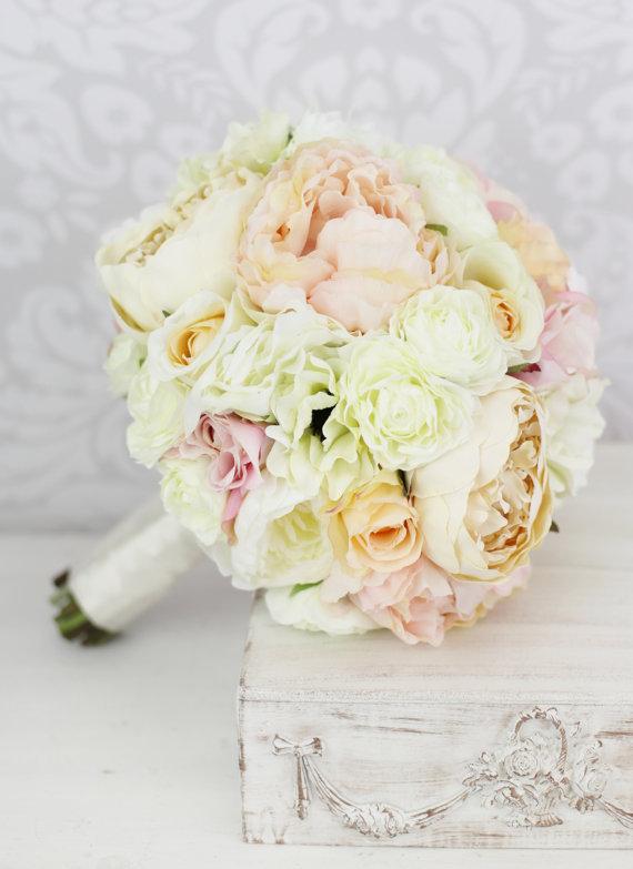 Silk Pink Peony Bridal Bouquet